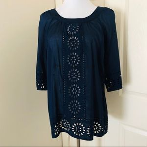 JOBES NEW YORK SIGNATURE Navy Cotton Lace Blouse